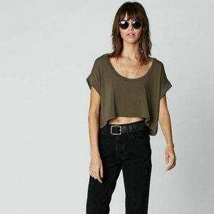 FLYNN SKYE Green Crop T-shirt Kira Hi Lo Sz M